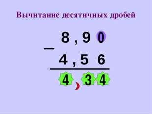 Вычитание десятичных дробей 8 , 9 4 , 5 6 0 4 3 4