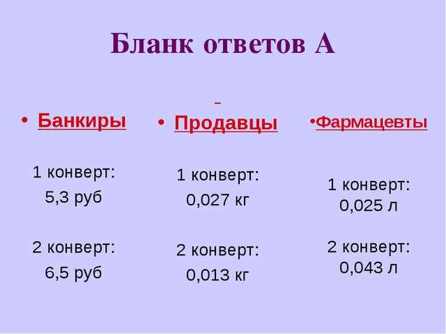 Бланк ответов А Банкиры 1 конверт: 5,3 руб 2 конверт: 6,5 руб Продавцы 1 конв...