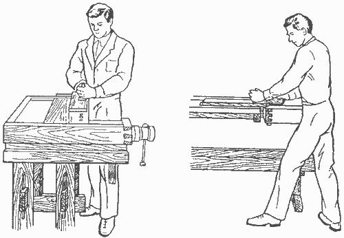 Рабочая поза (стойка) и приемы строгания заготовки рубанком