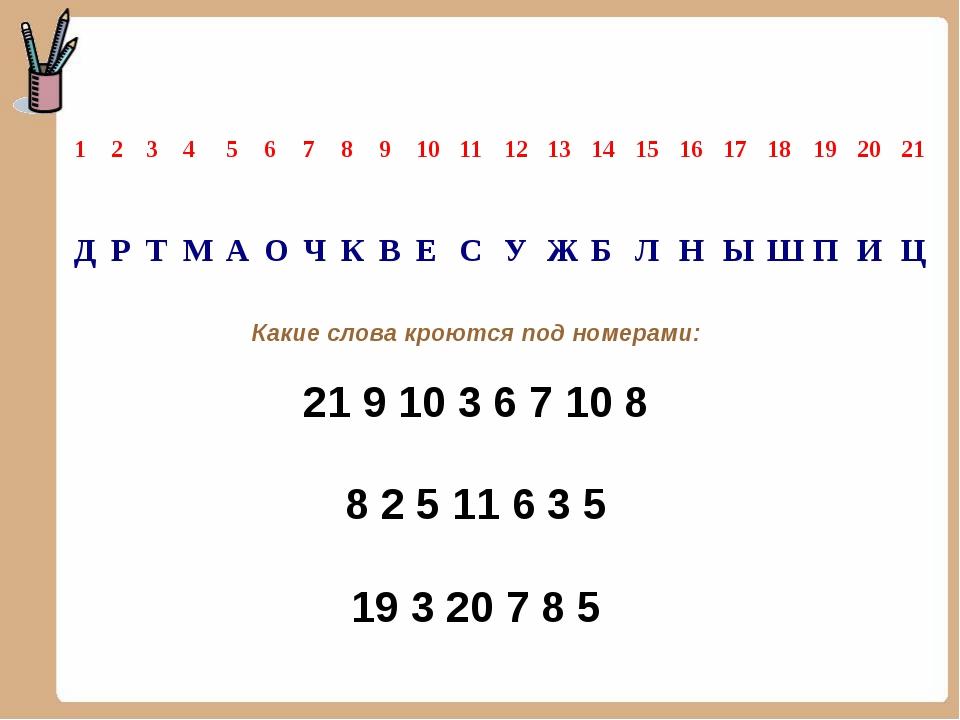 Какие слова кроются под номерами: 21 9 10 3 6 7 10 8 8 2 5 11 6 3 5 19 3 20 7...