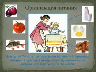 Для детей 7-14 лет оптимальным является 4-5-разовое питание. Перерывы между э