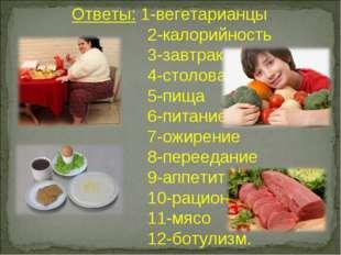 Ответы: 1-вегетарианцы 2-калорийность 3-завтрак 4-столовая 5-пища 6-питание 7