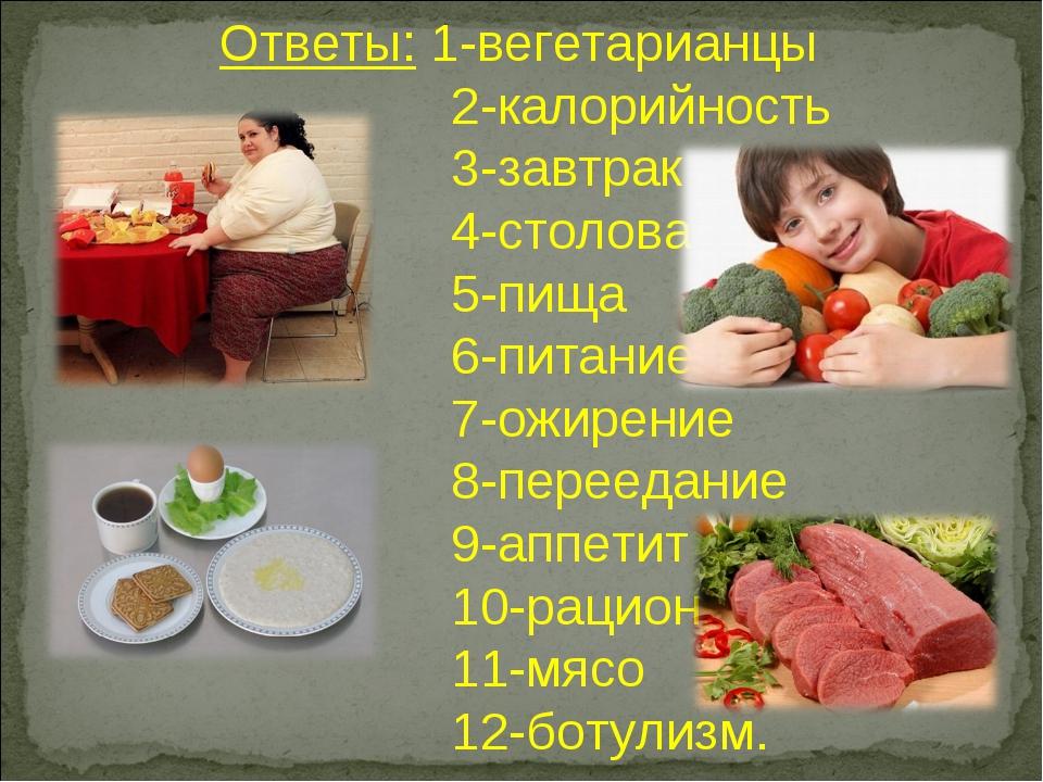 Ответы: 1-вегетарианцы 2-калорийность 3-завтрак 4-столовая 5-пища 6-питание 7...