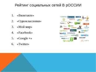 Рейтинг социальных сетей В рОССИИ «Вконтакте» «Одноклассники» «Мой мир» «Face