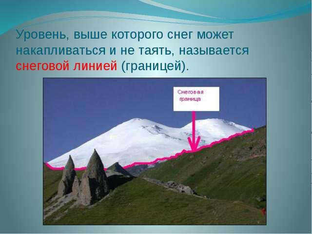 Уровень, выше которого снег может накапливаться и не таять, называется снегов...