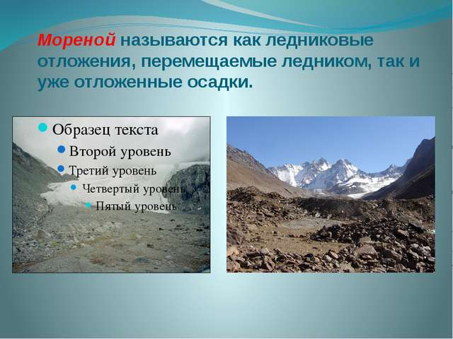 Моренойназываются как ледниковые отложения, перемещаемые ледником, так и уже...