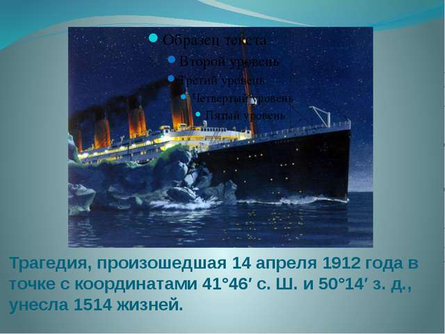 Трагедия, произошедшая 14 апреля 1912 года в точке с координатами 41°46′ с. Ш...