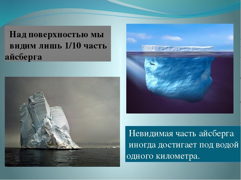 Над поверхностью мы видим лишь 1/10 часть айсберга Невидимая часть айсберга...