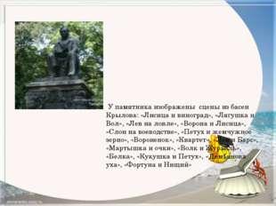 У памятника изображены сцены из басен Крылова: «Лисица и виноград», «Лягушка