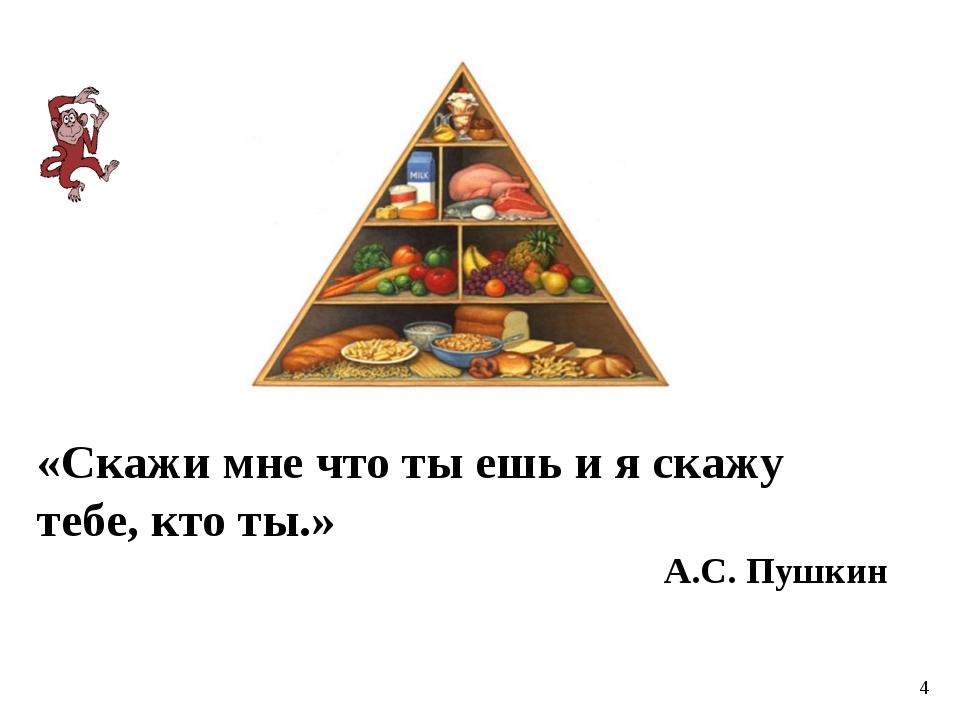 «Скажи мне что ты ешь и я скажу тебе, кто ты.» А.С. Пушкин 4