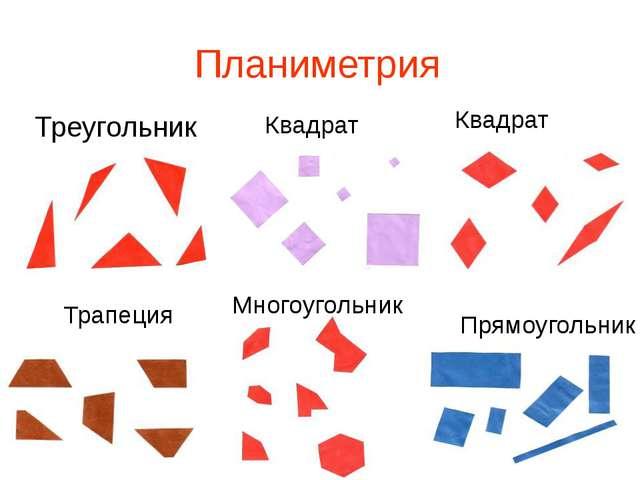 Планиметрия Треугольник Квадрат Квадрат Трапеция Прямоугольник Многоугольник