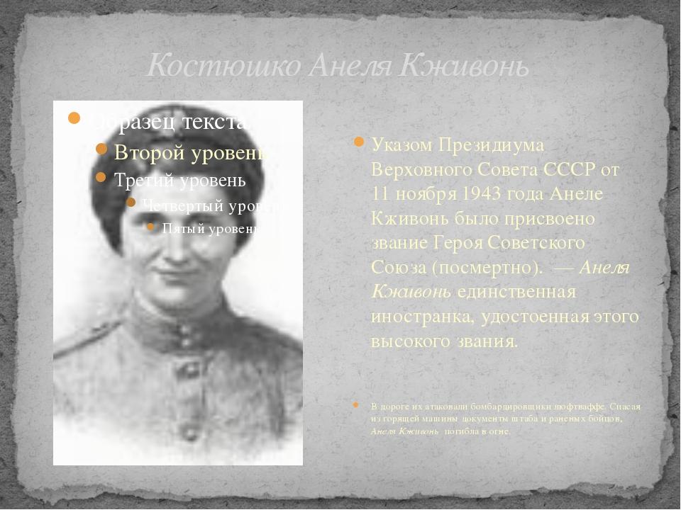 Костюшко Анеля Кживонь Указом Президиума Верховного Совета СССР от 11 ноября...
