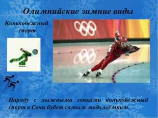 Олимпийские зимние виды спорта Конькобежный спорт Наряду с лыжными гонками ко