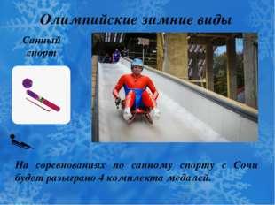 Олимпийские зимние виды спорта Санный спорт На соревнованиях по санному спорт