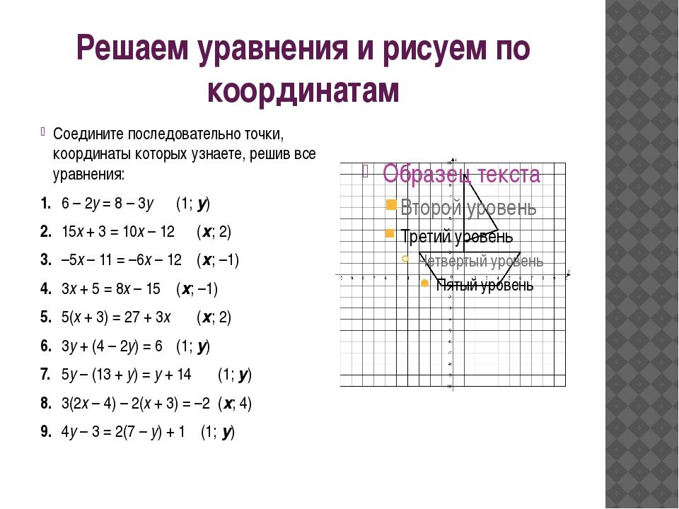 Решаем уравнения и рисуем по координатам Соедините последовательно точки, коо...