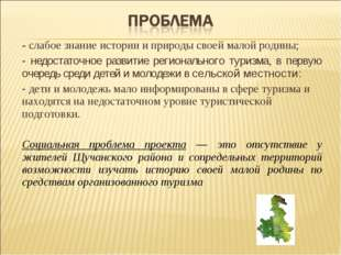 - слабое знание истории и природы своей малой родины; - недостаточное развити