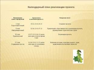 Календарный план реализации проекта Наименование этапов, мероприятийСроки на