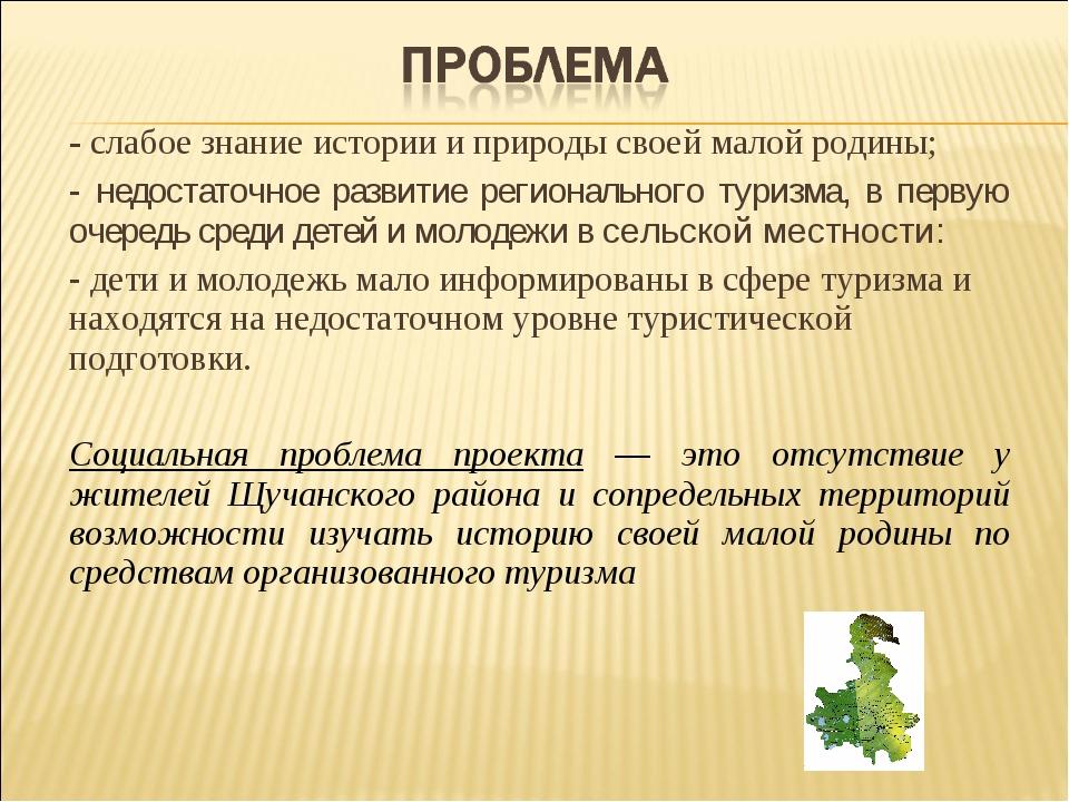 - слабое знание истории и природы своей малой родины; - недостаточное развити...