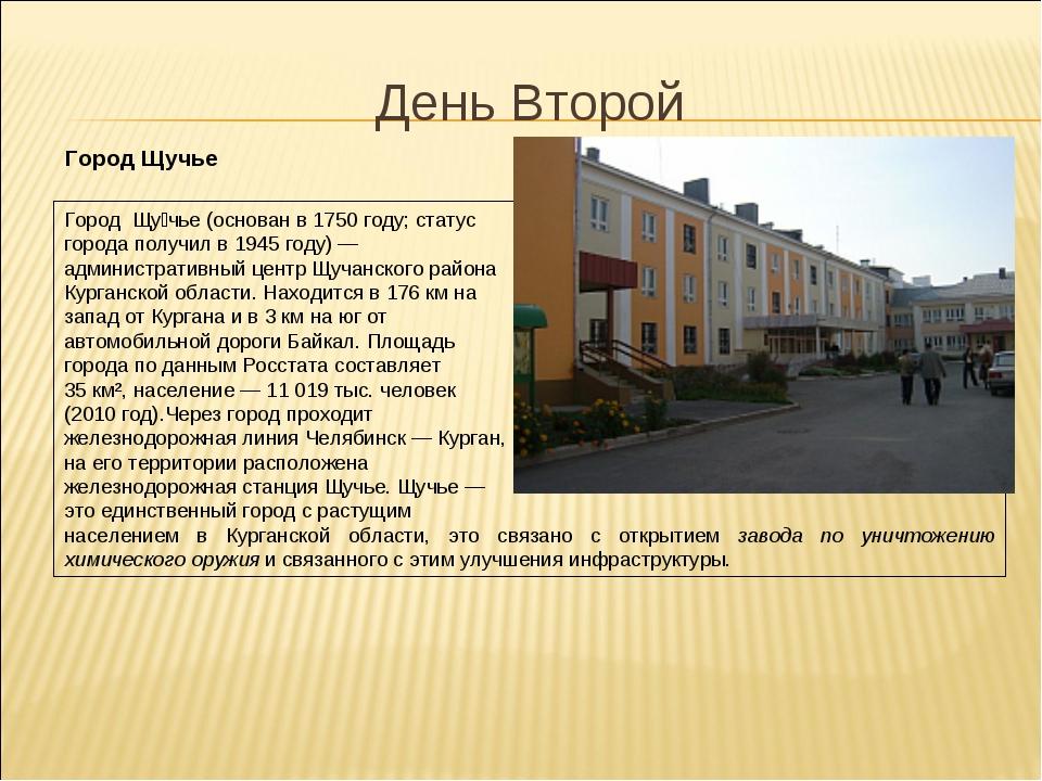 День Второй Город Щучье Город Щу́чье (основан в 1750 году; статус города полу...
