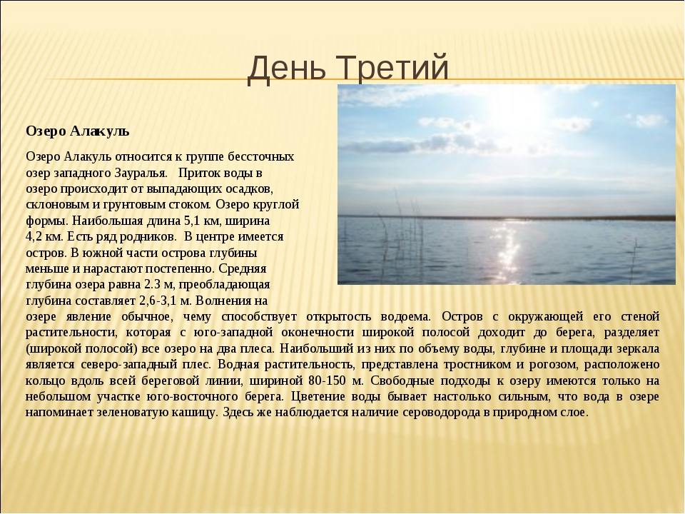 День Третий Озеро Алакуль Озеро Алакуль относится к группе бессточных озер за...