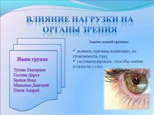 Задача нашей группы: выявить причины влияющие, на утомляемость глаз; системат
