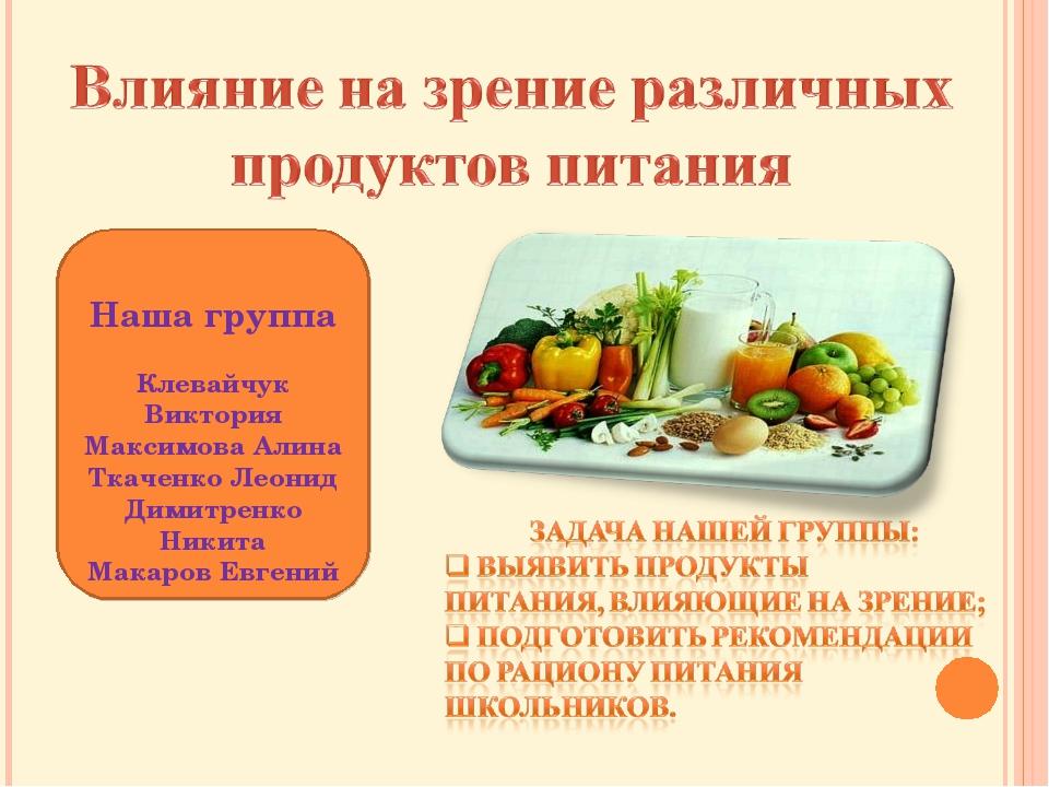 Наша группа Клевайчук Виктория Максимова Алина Ткаченко Леонид Димитренко Ник...