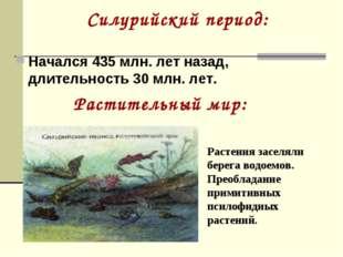 Силурийский период: Начался 435 млн. лет назад, длительность 30 млн. лет. Рас