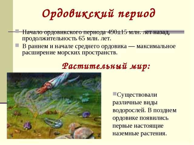 Ордовикский период Начало ордовикского периода 490±15 млн. лет назад, продолж...