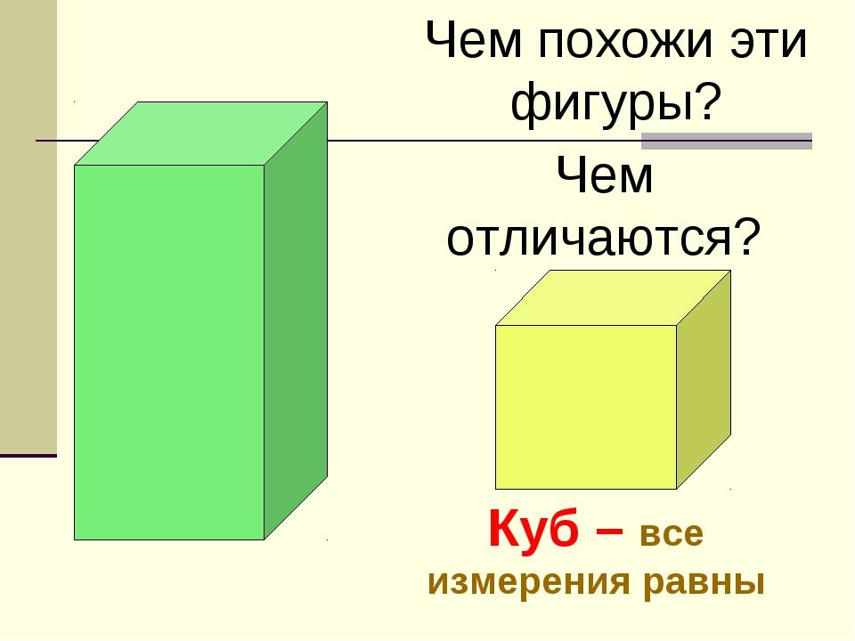 Чем похожи эти фигуры? Чем отличаются? Куб – все измерения равны