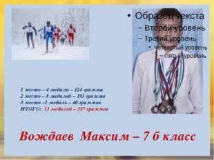 Вождаев Максим – 7 б класс 1 место – 4 медали – 124 грамма 2 место – 8 медале