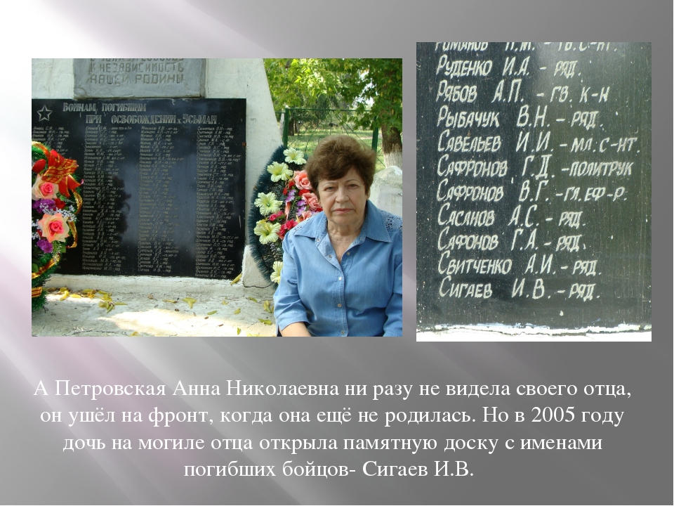 А Петровская Анна Николаевна ни разу не видела своего отца, он ушёл на фронт,...