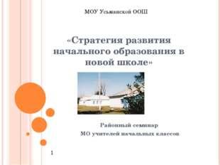 «Стратегия развития начального образования в новой школе» Районный семинар МО