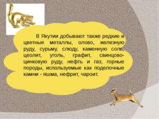 В Якутии добывают также редкие и цветные металлы, олово, железную руду, сурьм