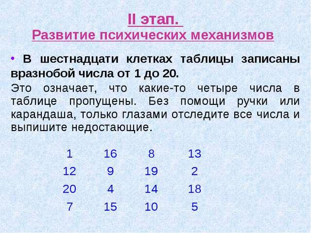 II этап. Развитие психических механизмов В шестнадцати клетках таблицы записа...
