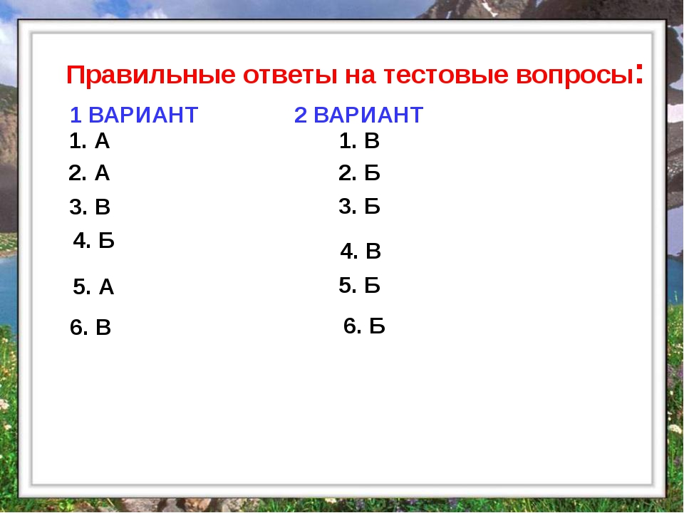 Правильные ответы на тестовые вопросы: 1. А 2. А 3. В 4. Б 1. В 2. Б 3. Б 4....