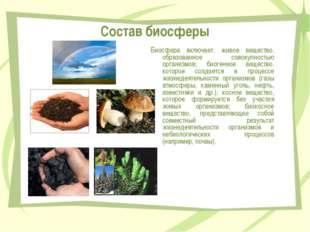Состав биосферы Биосфера включает: живое вещество, образованное совокупностью
