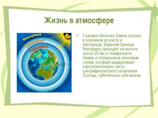 Жизнь в атмосфере Газовая оболочка Земли состоит в основном из азота и кислор