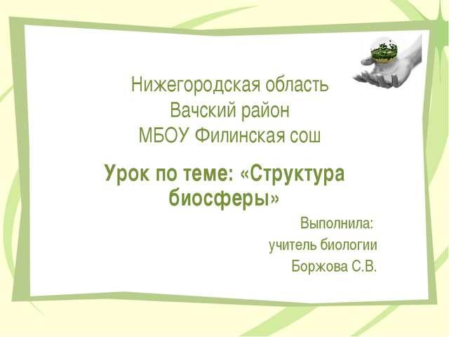 Нижегородская область Вачский район МБОУ Филинская сош Урок по теме: «Структу...