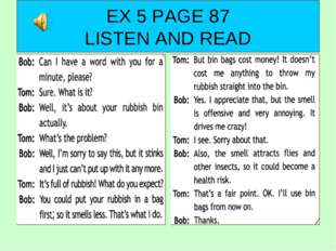 EX 5 PAGE 87 LISTEN AND READ