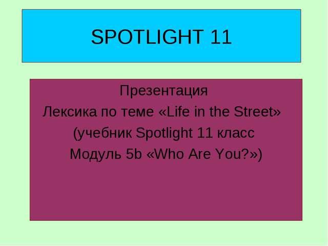 SPOTLIGHT 11 Презентация Лексика по теме «Life in the Street» (учебник Spotli...