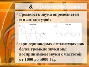 Громкость звука Громкость звука определяется его амплитудой: При одинаковых а