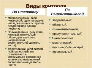 Виды контроля По Степанову По Сыромятниковой Многоаспектный (или локальный; о