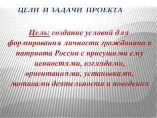 Цель: создание условий для формирования личности гражданина и патриота России