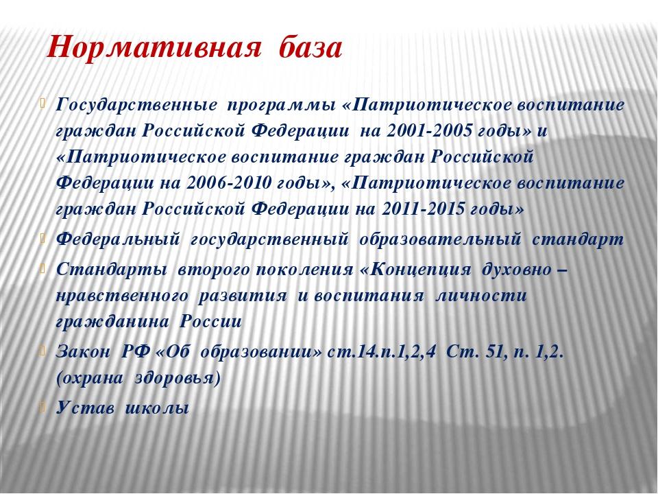 Нормативная база Государственные программы «Патриотическое воспитание граждан...