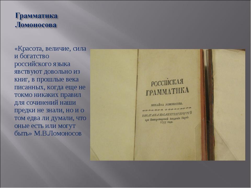 «Красота, величие, сила и богатство российского языка явствуют довольно из кн...