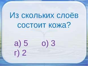 Из скольких слоёв состоит кожа? а) 5 о) 3 г) 2