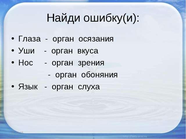 Найди ошибку(и): Глаза - орган осязания Уши - орган вкуса Нос - орган зрения...