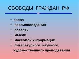 СВОБОДЫ ГРАЖДАН РФ слова вероисповедания совести мысли массовой информации л
