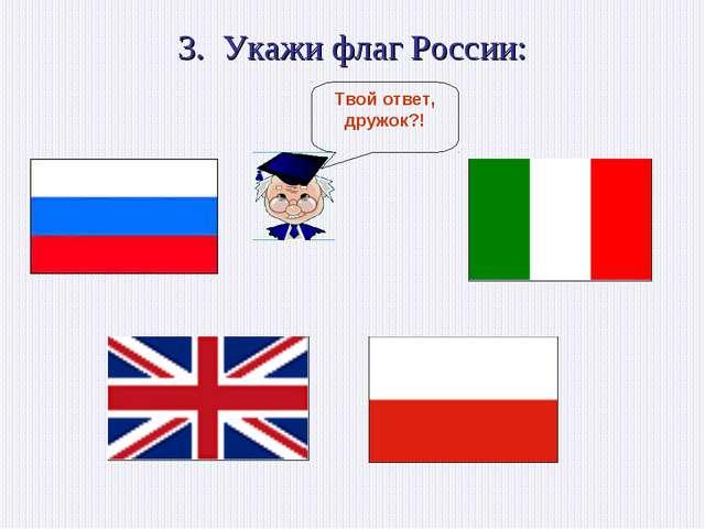 3. Укажи флаг России:
