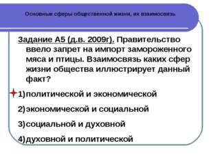 Основные сферы общественной жизни, их взаимосвязь Задание А5 (д.в. 2009г). Пр